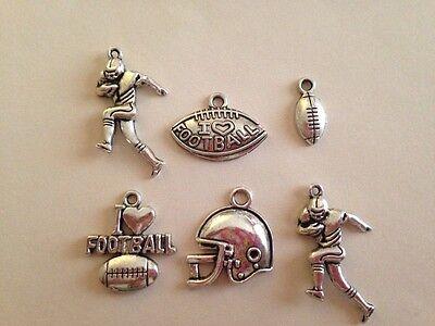 6 pcs Tibetan Silver Charms Football themed