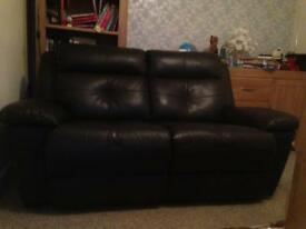 2 SEATER DARK BROWN LEATHER SOFA- SOLD