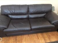 Brown leather 3seater sofa from a pet a smoke free home