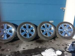 DODGE JOURNEY / GRAND CARAVAN  FACTORY OEM 19 INCH CHROME CLAD ALLOY WHEEL SET OF FOUR IN EXCELLENT CONDITION.