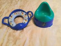 Mickey Mouse soft padded toilet trainer seat and matching potty (like new)