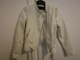 White faux leather jacket with gold detailing Size S/6