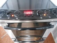 Zanussi ceramic double oven fan assisted cooker..silver/black
