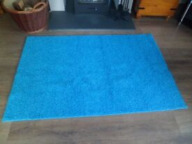 Rug for sale turquoise twist pile (new ) rubber backed 60x 39 inches