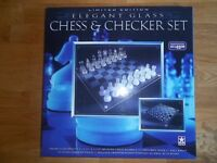 Glass Chess & Draughts (Checkers) Set