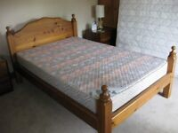 4 Foot Heavy Pine Double Bed and Mattress