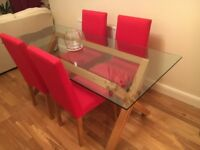 Dining Table - 4 seater - Glass topped - John Lewis