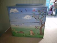 Hand painted children's chest of drawers