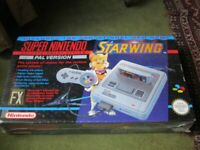 SNES CONSOLE PACKAGED WITH STARWING GAME– STILL IN ORIGINAL CELLOPHANE WRAPPER – INCREDIBLY RARE