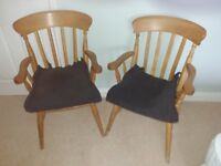 Two pine carver chairs