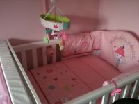 Cot bed, wardrobe and cot changer