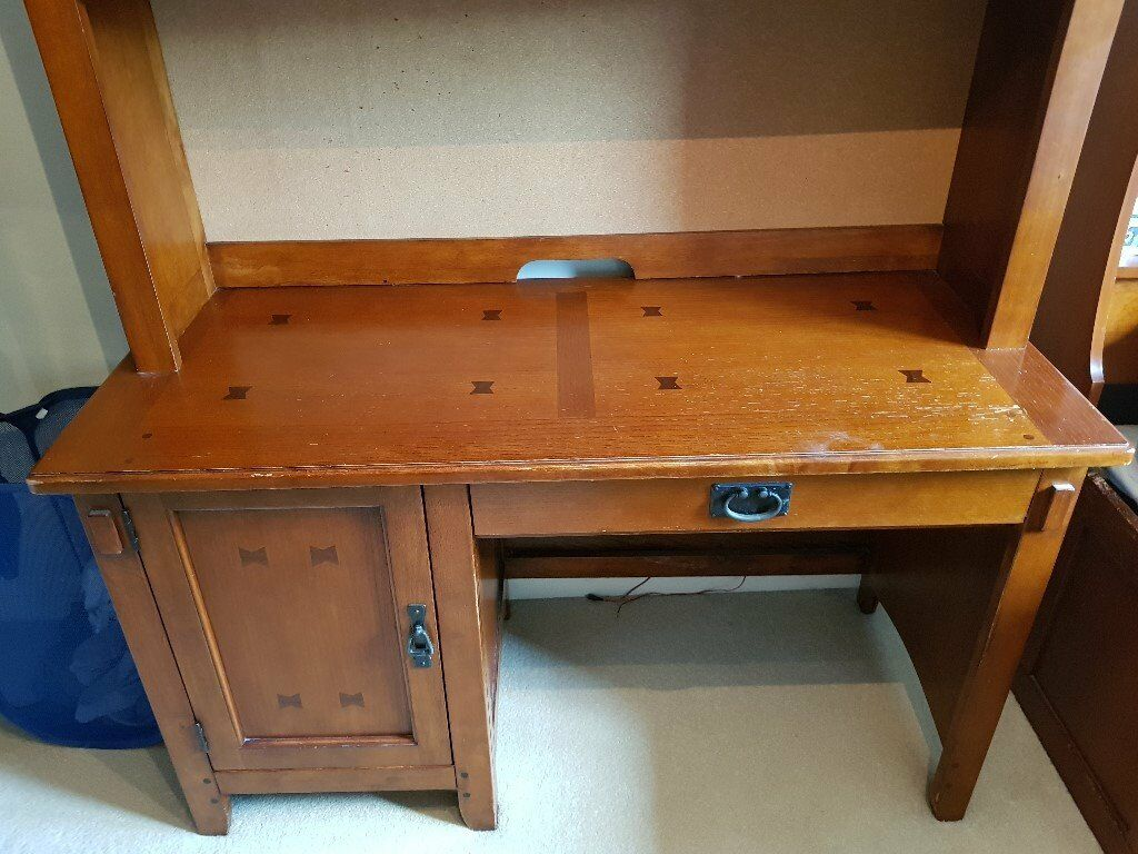 Desk (ideal for teenagerin Glossop, DerbyshireGumtree - Desk with pull out drawer for keyboard and side cupboard. This has a few marks on it (but not as bad as it looks in the picture. It also has a matching hutch which we are selling separately. However, if someone wants to buy the two to make the...