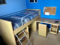 Cabin Bed complete with Swivel Desk & Storage Shelving