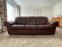 Genuine brown leather 3seater sofa and armchair suite