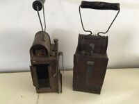 antique pair of lamps oil with burners, pump on back with hooks unusual original lamps