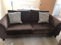 2 X 3 seater DFS brown sofas