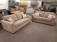Pair Of Ex Display 3 Seater Brown Fabric Sofas **CAN DELIVER**