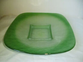 LARGE HEAVY GREEN GLASS DISH / BOWL