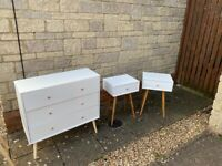 BEDSIDE TABLE, CHEST OF DRAWERS AND DRESSING TABLE