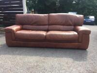 4 seater tan brown leather sofa