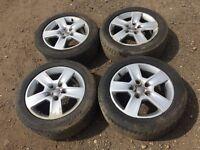 "Audi A4 / A6 16"" alloy wheels - good tyres - also fit golf mk5"