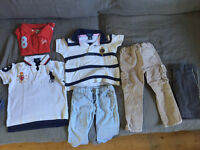 Bundle of clothes and Pampers Baby Dry 5+