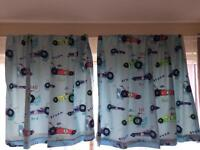 Boys bedroom car curtains from Next and rug.