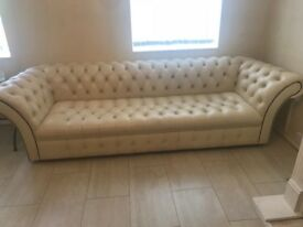 Cream leather chesterfield sofa fireplace & coffee table for sale