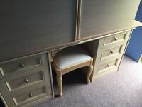Bedroom furniture for sale - dressing table with stool and mirror, 2 wardrobes and 2bedside lockers