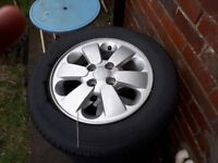 "Kia 14"" Alloy 100 pcd, not been curbed"