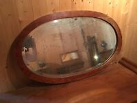 Large Oval Mirror in polished wooden frame. 2 Styles. Sold separately