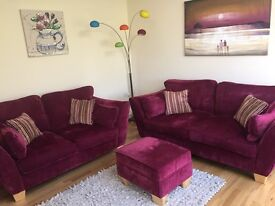*Reduced* 2 Sofas, Footstool & 4 cushions from Silcox, Son & Wicks