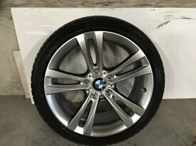 ALLOYS X 4 OF 18 INCH GENUINE BMW 4/SERIES OR 3/AND/1/SERIES FULLY POWDERCOATED IN SHADOWCHROME NICE
