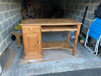Used Solid Pine Computer Desk with cupboard, draw and shelf (L:123cm W:57cm H:82cm).