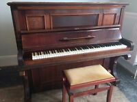 Iron frame wooden piano with adjustable stool