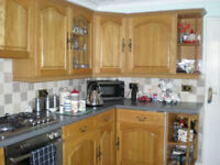 LIGHT OAK SOLID WOOD KITCHEN UNITS SINK AND XPELAIR FAN