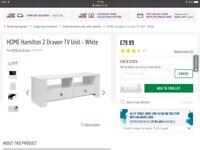 New from Argos White Hamilton TV unit disregard £79.99