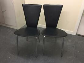 2 John Lewis Black Leather Dining Chairs With Metal Legs