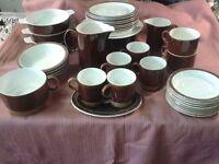 poole china dinnerware brown and white