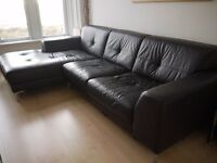 Brown Leather 3 Seater Sofa Chaise very good condition