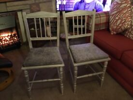 2 chairs silver chalk painted and upholstered in silver velvet