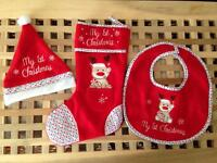 """My 1st Christmas"" Santa hat, bib and stocking"