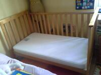 mothercare Jamestown cot bed with a mattress