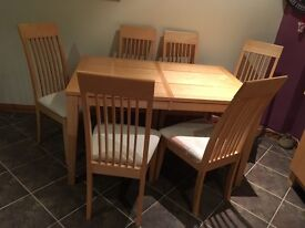 Solid Maple Dining Table, 6 Chairs and matching Dresser