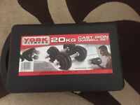 20kg cast iron dumbbell set (YORK Fitness)