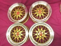 "4 x NEW 18"" BBS GOLD CENTRE ALLOY WHEELS 5x112 5 112 POLISHED VW golf mk5 mk6 audi a3 a5 w203 class"