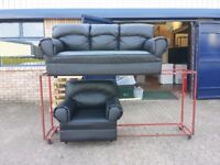 black leather 3 seater sofa and 1 armchair suite