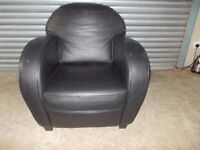 Black Full Hide Leather Occasional Chair