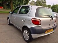 2002 TOYOTA YARIS 5DOORS 1.0-GS,68000 GENUINE LOW MILES,FULL SERVICE HISTORY,MOT 24-3-2018,HPI CLEAR