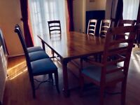 LARGE FARMHOUSE STYLE BAKER FLAGSTONE DINING TABLE & CHAIRS (SITS 8 TO 10 PEOPLE)